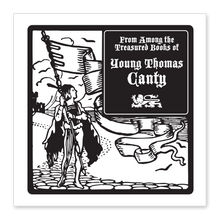 Boy with Flag Bookplate • From among the Treasured Books of Thomas Canty • White Paper