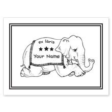 Literary Elephant Bookplate • Ex Libris Your Name • White Paper
