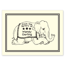 Literary Elephant Bookplate • From the library of Wendy Darling • Natural Paper