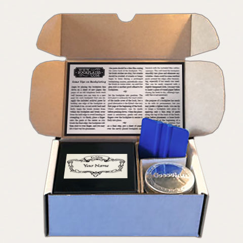 Bookplates.com Kit includes custom bookplates, paste or self adhesive paper, applicator, boxes, and instructions.