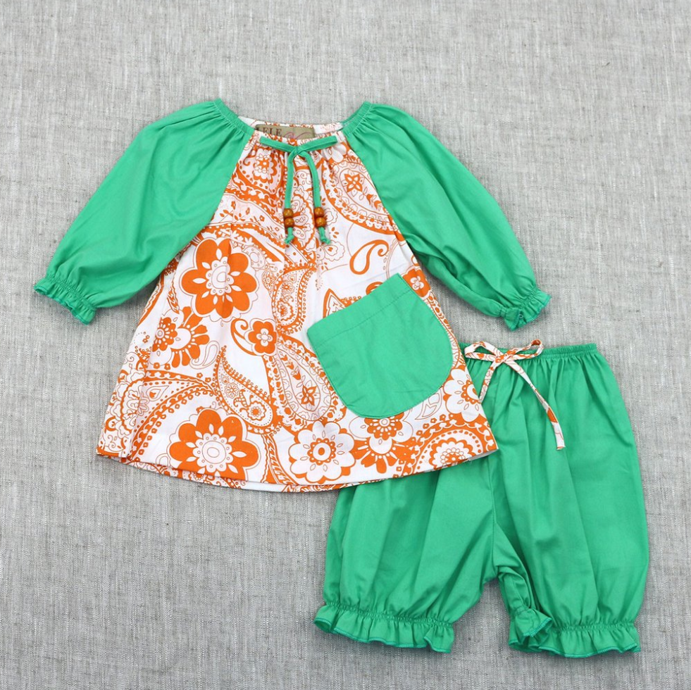 Green and Orange Paisley
