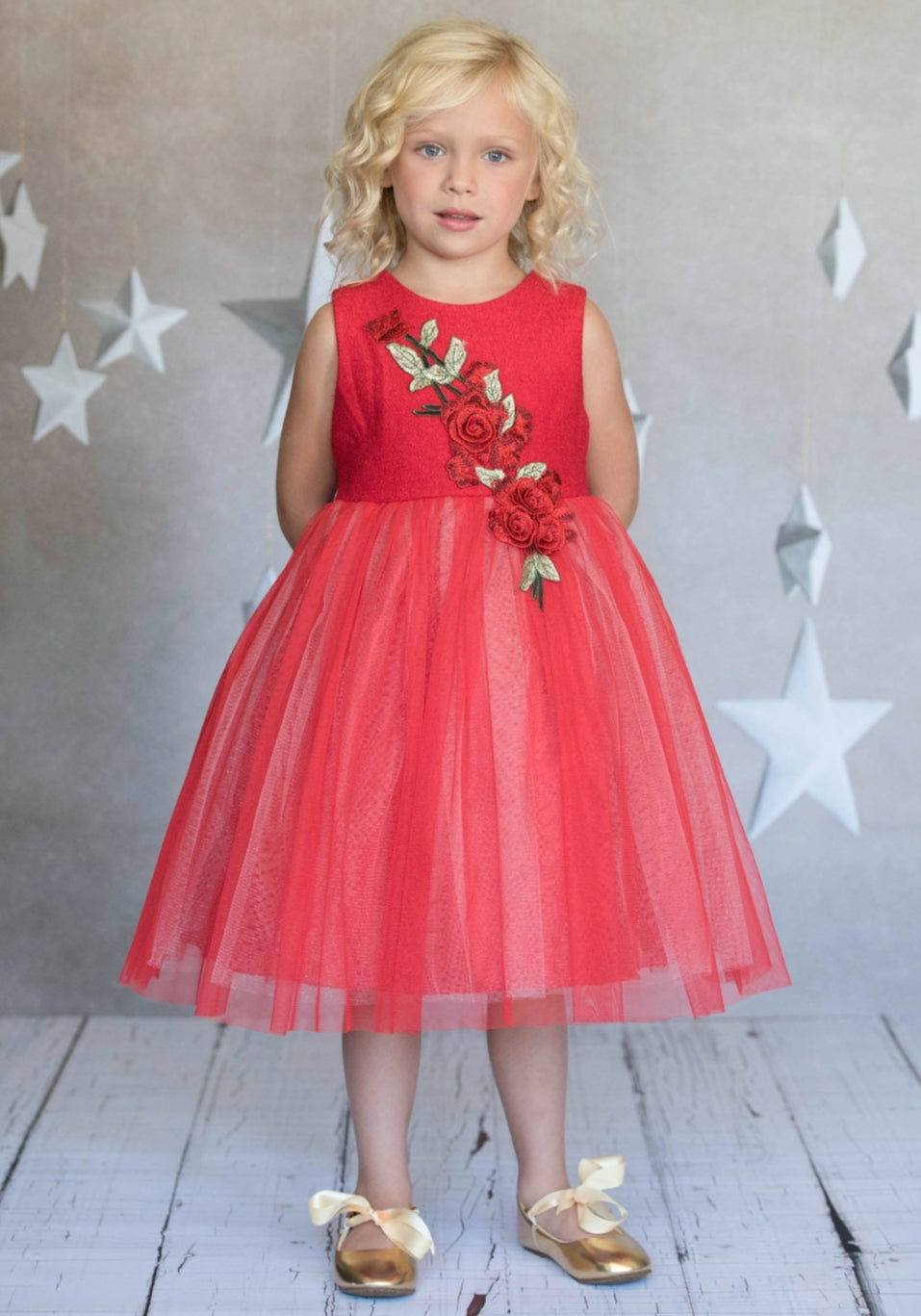 Red Rose Patch Dress