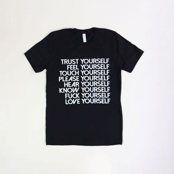 Love Yourself Tee Shirt Wild Flower Small Black