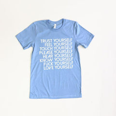 Love Yourself Tee Shirt Wild Flower Small Blue