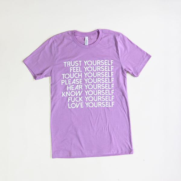 Love Yourself Tee Shirt Wild Flower Small Lavender