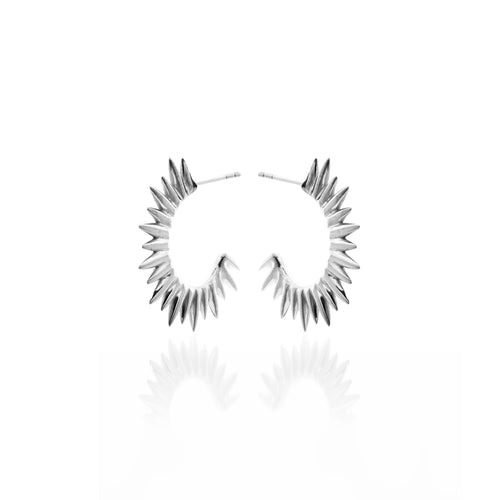 Radiance Spike Silver Earrings by Silk and Steel