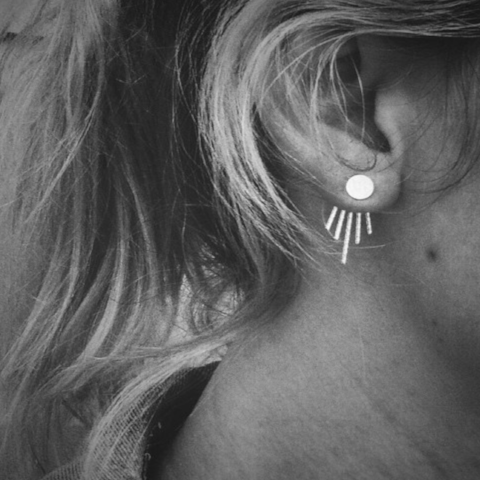 Moonbeam Sterling Silver Deep V Ear Jacket & Full Moon Stud Combo by Renegade
