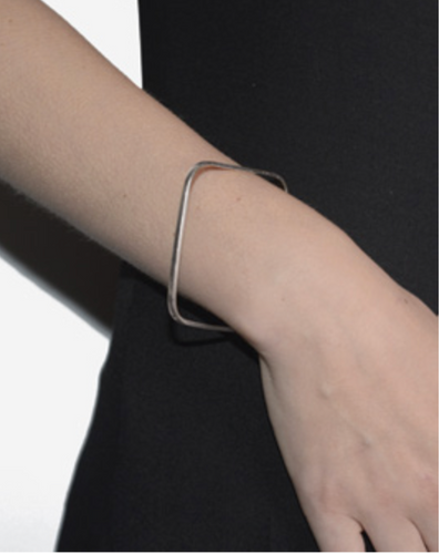 CINNIE Silver Square Bangle by Serpent And The Swan