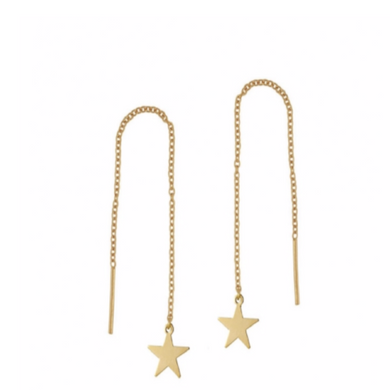 Star Ear Threader Earrings in Gold
