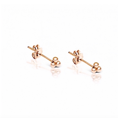 Trinity Ball Stud Earring in Rose Gold