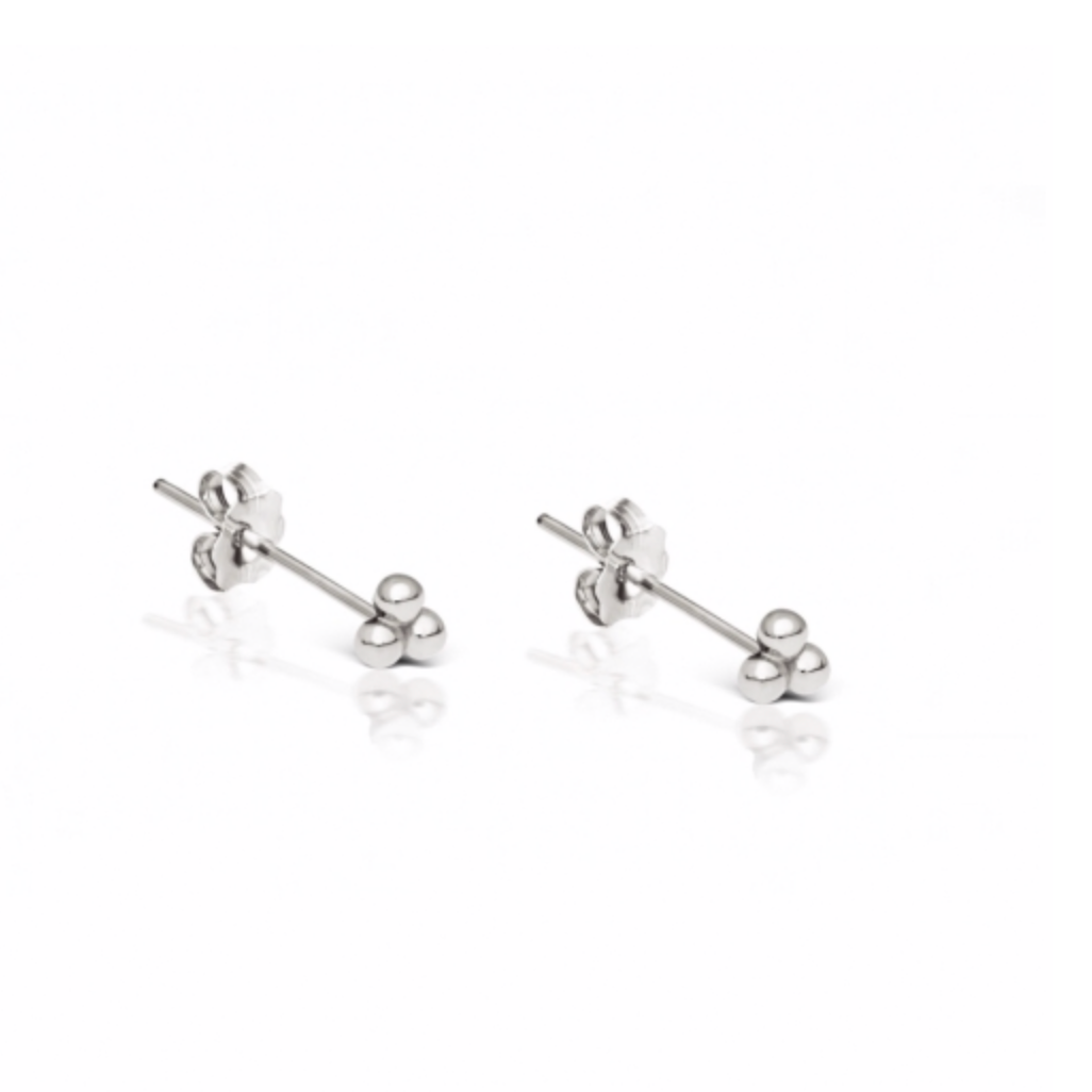 Trinity Ball Stud Earrings in Sterling Silver