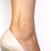 Side Cross Anklet in Sterling Silver