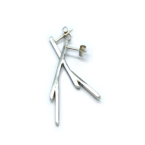 Stick Sterling Silver Earrings by Mirta