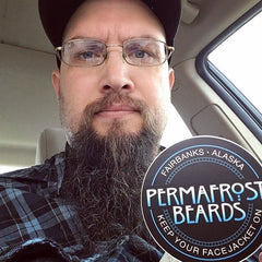Permafrost Beards Alaskan beard oil beard balm and mustache wax. All Made In Fairbanks Alaska, this is Pastor Jason. Veteran owned and operated.