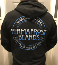 Permafrost Beards Zip Up Hoodie made for us by Grunt Style. Show your pride in the best beard care products made in Alaska.