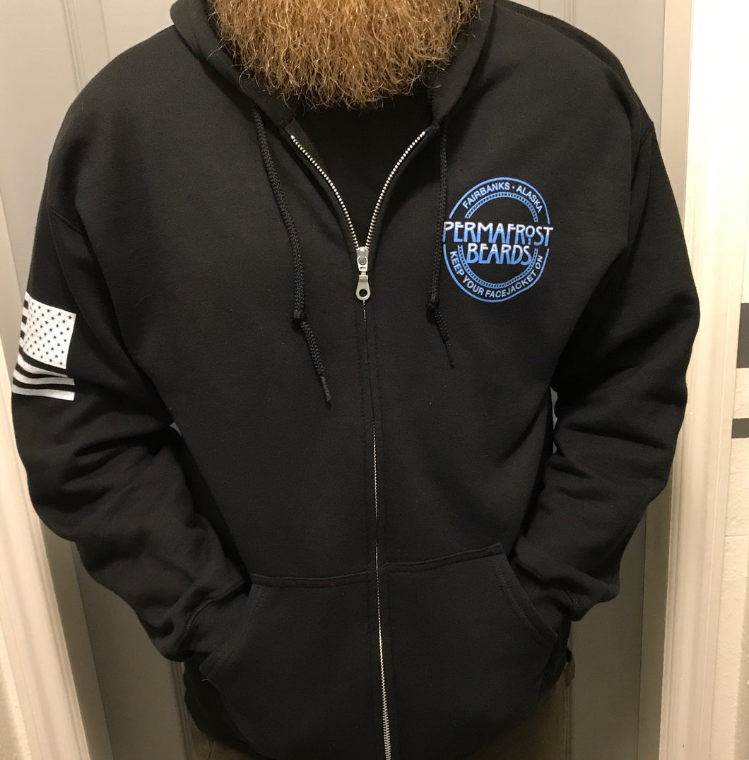 Permafrost Beards Zip Up Hoodie made for us by Grunt Style!