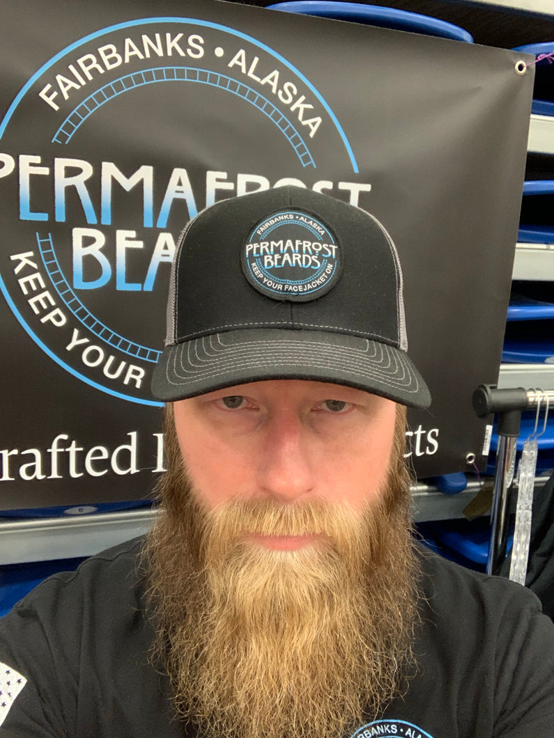 Permafrost Beards Trucker Hat with mess back.
