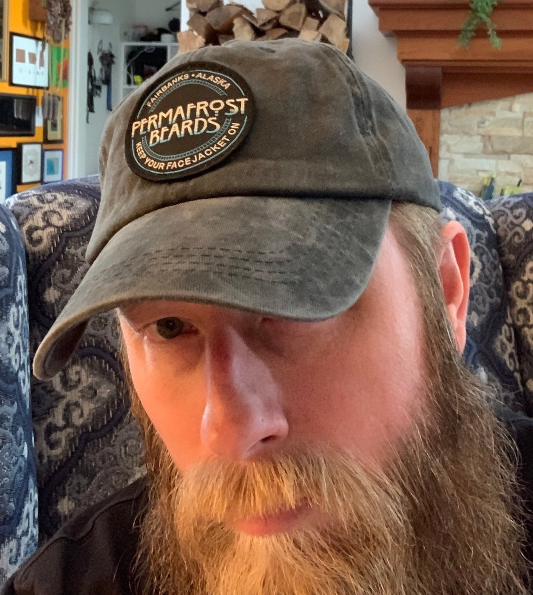 Classic ball cap/dad hat with a Permafrost Beards Patch