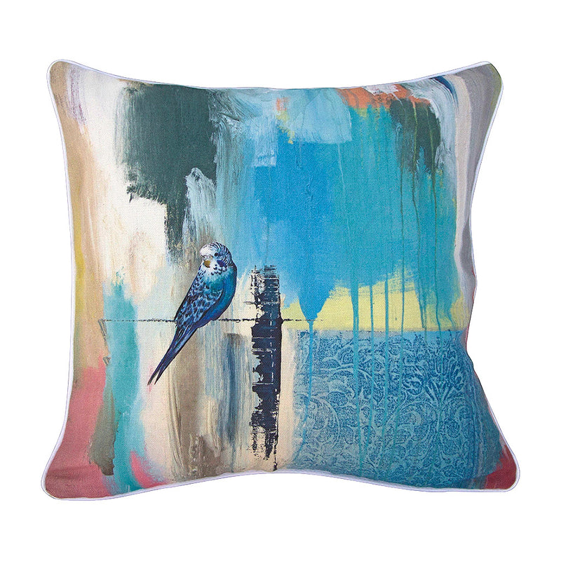 Budgerigar Linen Cushion - Jo Stanes