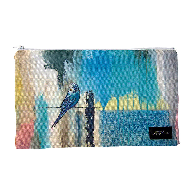 Budgerigar Linen Accessory Pouch / Clutch Purse