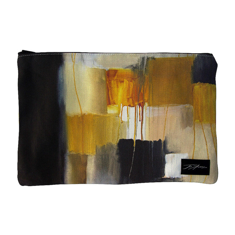 Cubism Linen Accessory Pouch / Clutch Purse