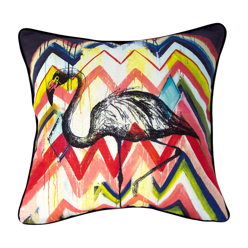 Flamingo Linen Cushion - Jo Stanes