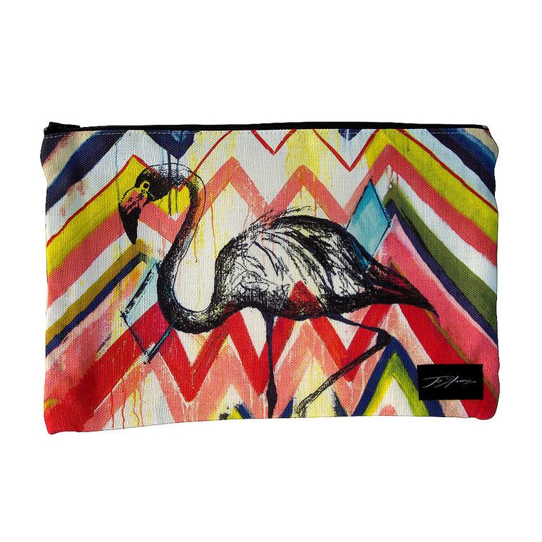 Flamingo Linen Accessory Pouch / Clutch Purse