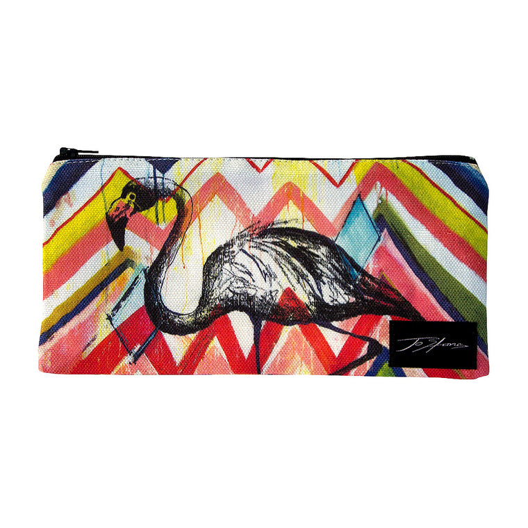 Flamingo Linen Accessory Pouch / Clutch Purse - Jo Stanes