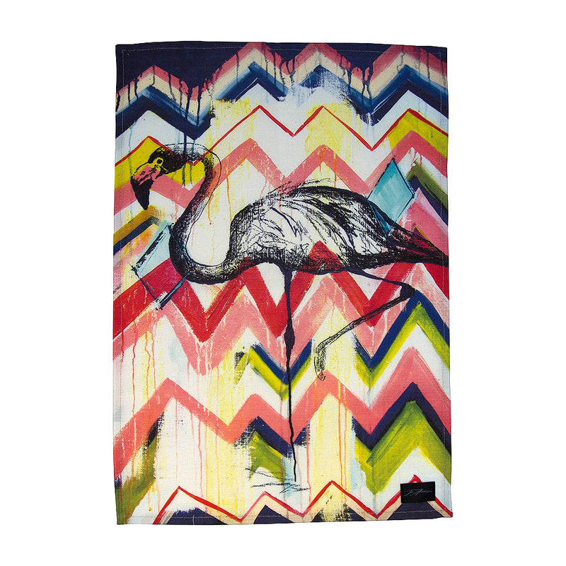 Flamingo Linen Tea Towel - Jo Stanes