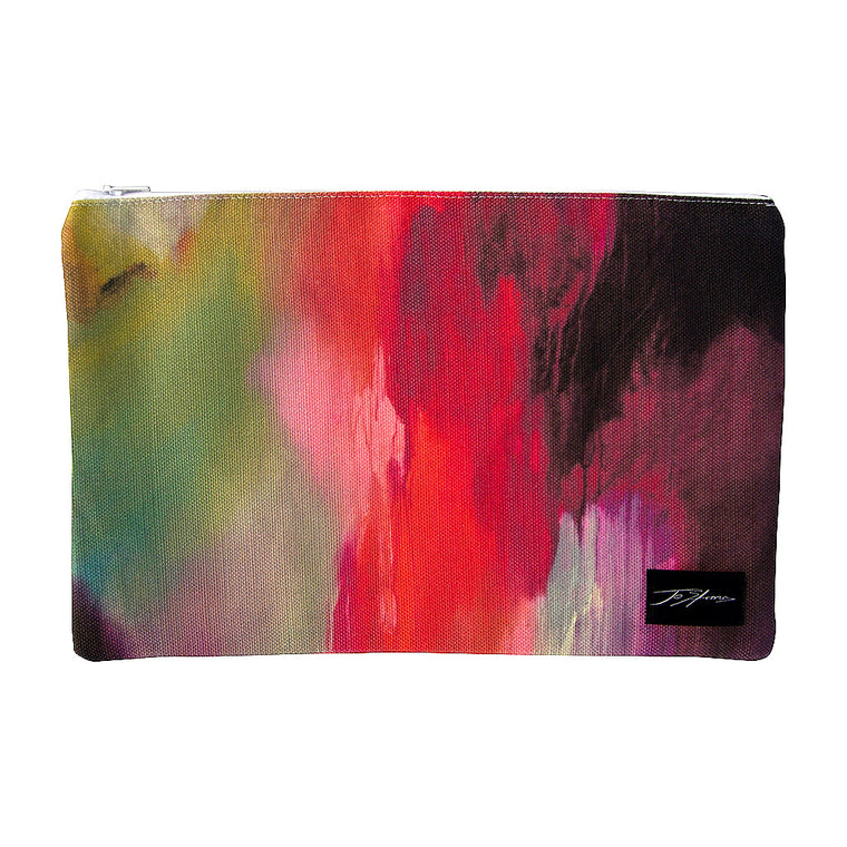 Joyful Linen Accessory Pouch / Clutch Purse