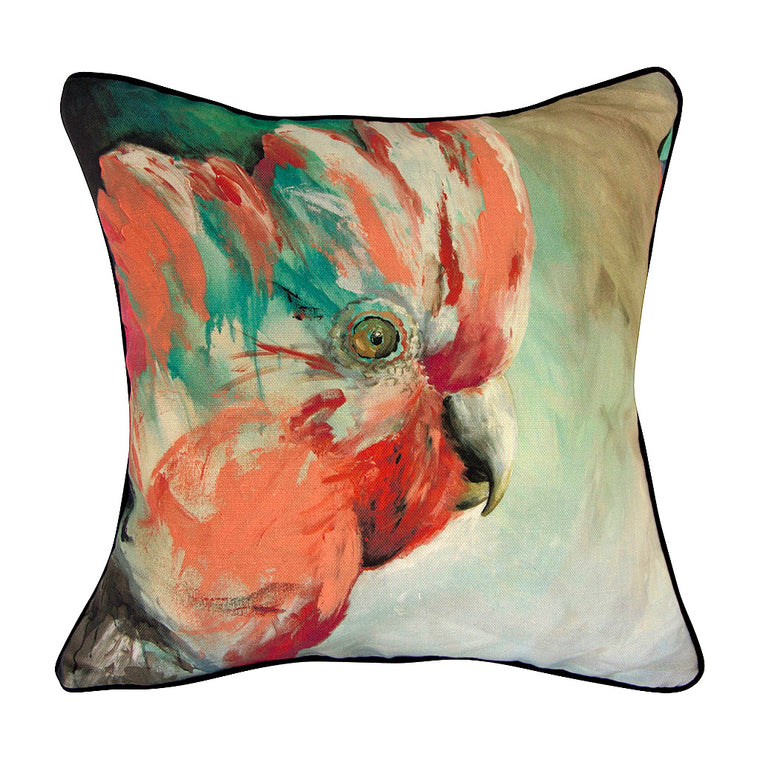 Pink Galah Linen Cushion