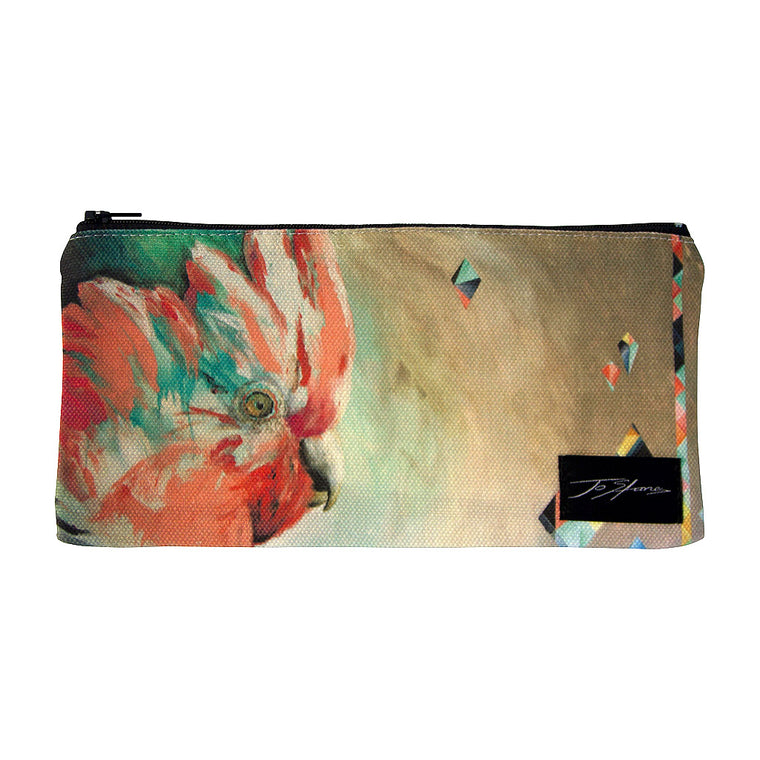 Pink Galah Linen Accessory Pouch / Clutch Purse - Jo Stanes