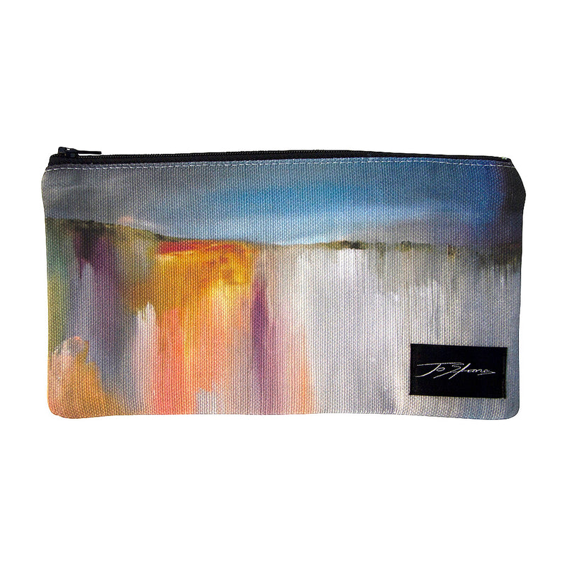 Storm Rolling In Linen Accessory Pouch / Clutch Purse - Jo Stanes