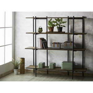 BROOKLYN 4-Tier Solid Wild Almond Wood Book Shelf