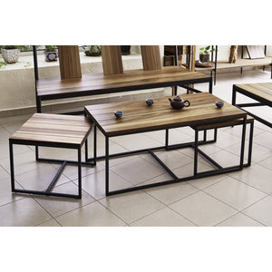JACOB 3 in 1 Solid Wild Almond Wood Coffee Table Set