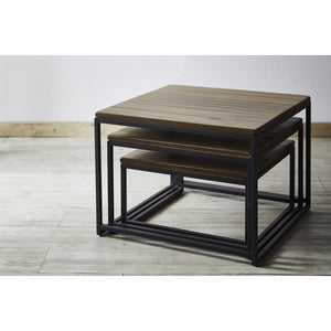 PODIUM Solid Wild Almond Wood 3 in 1 Side Table Set
