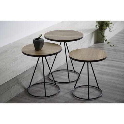 ROUND Solid Durian Wood Nesting Table Set
