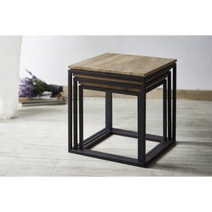 TETRIS Solid Durian Wood 3 in 1 Side Table Set