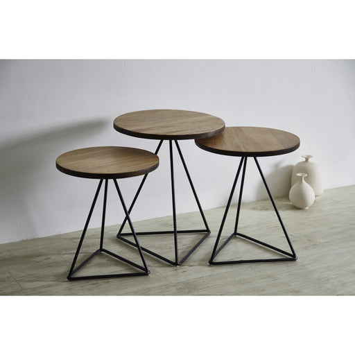 TRIANGLE Solid Durian Wood Nesting Table Set