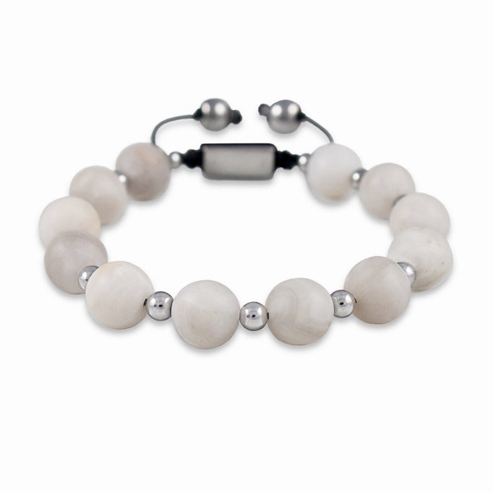 BRACELET 'CAELI' WITH WHITE AGATE