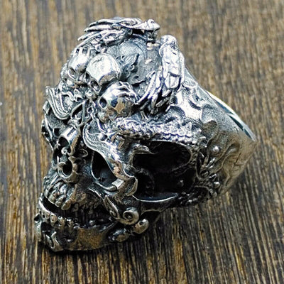 'Death knight' 925 Sterling Silver Skull Ring