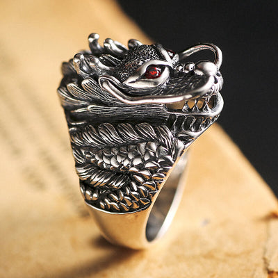 'The Red Eye' 925 Sterling Silver Dragon Ring