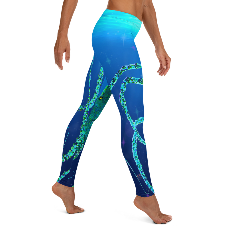 Teal Octopus Gyotaku Leggings