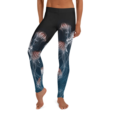 Teal Octopus 3 Gyotaku Leggings