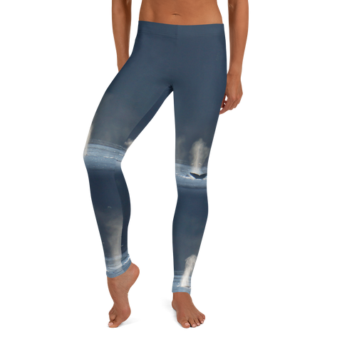 Whales in Silver Bay Capri Leggings