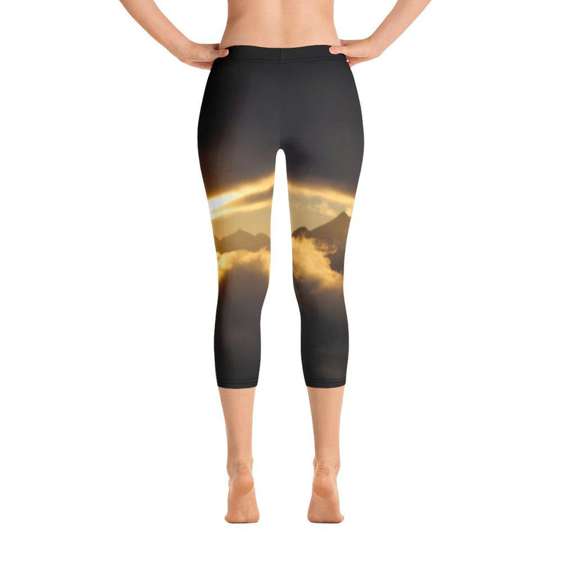Cross Mountain Sunrise from Mount Verstovia Capri Leggings - 57 Peaks
