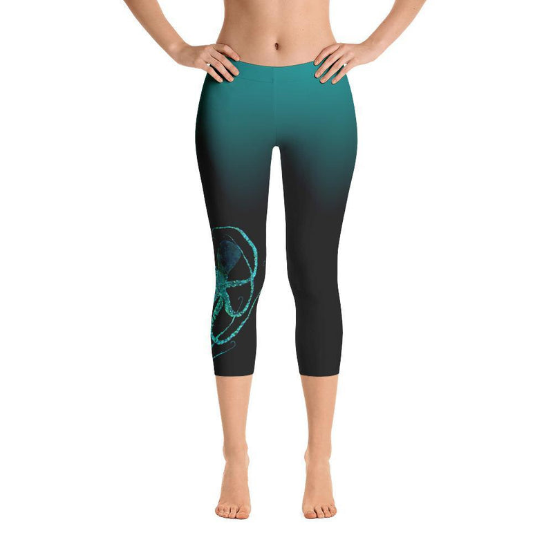 Teal Octopus 2 Gyotaku Capri Leggings - 57 Peaks