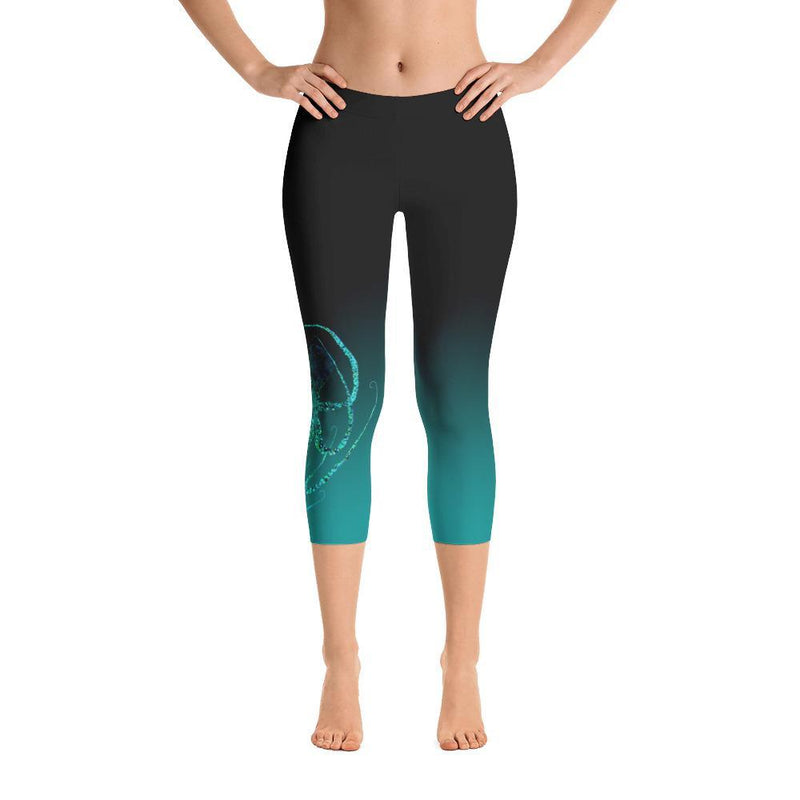 Teal Octopus 3 Gyotaku Capri Leggings - 57 Peaks