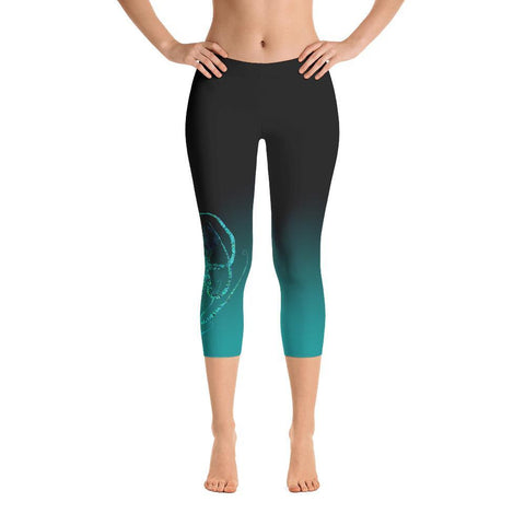 Teal Octopus 2 Gyotaku Leggings