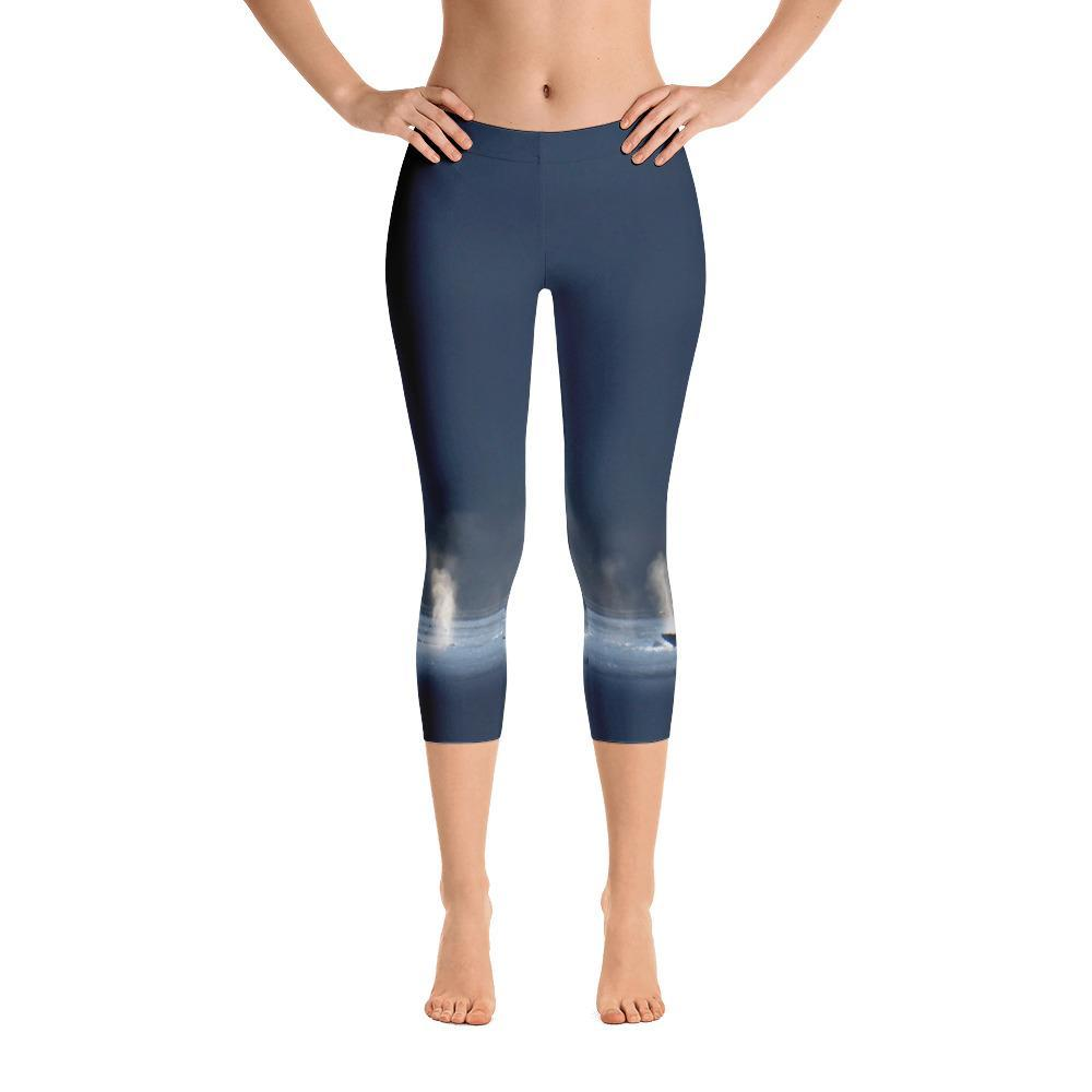 Whales in Silver Bay Capri Leggings - 57 Peaks
